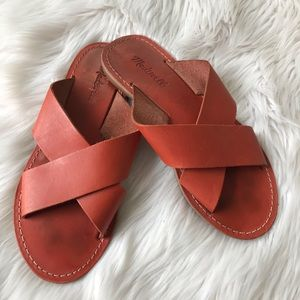 Madewell Leather CrissCross Slip On Sandals Size 8
